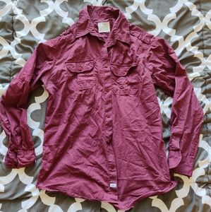 PD&C button up maroon burgundy